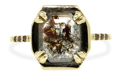 AIRA Ring in Yellow Gold .91 Carat Cognac and White Diamond
