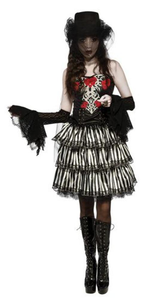 Halloween Black and White Striped Ruffle Skirt