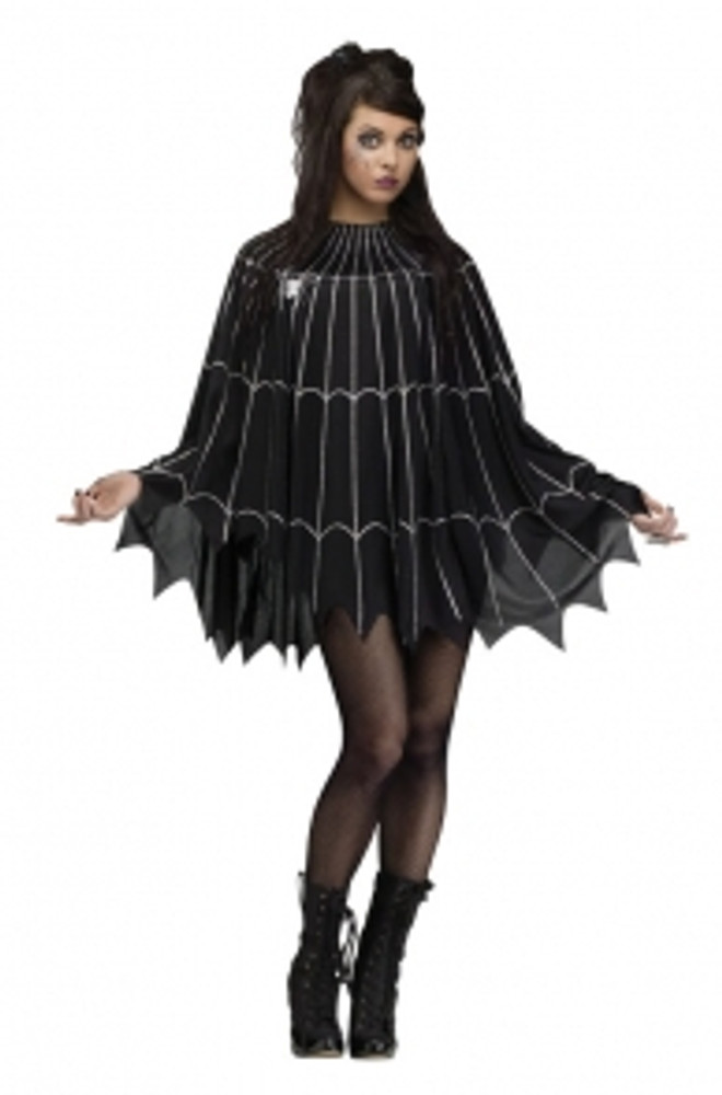Spiderweb Poncho - Black/Silver