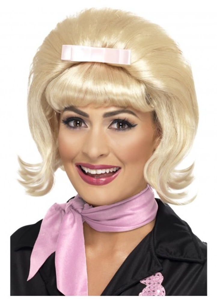 50's Flicked Beehive Bob Blonde Wig