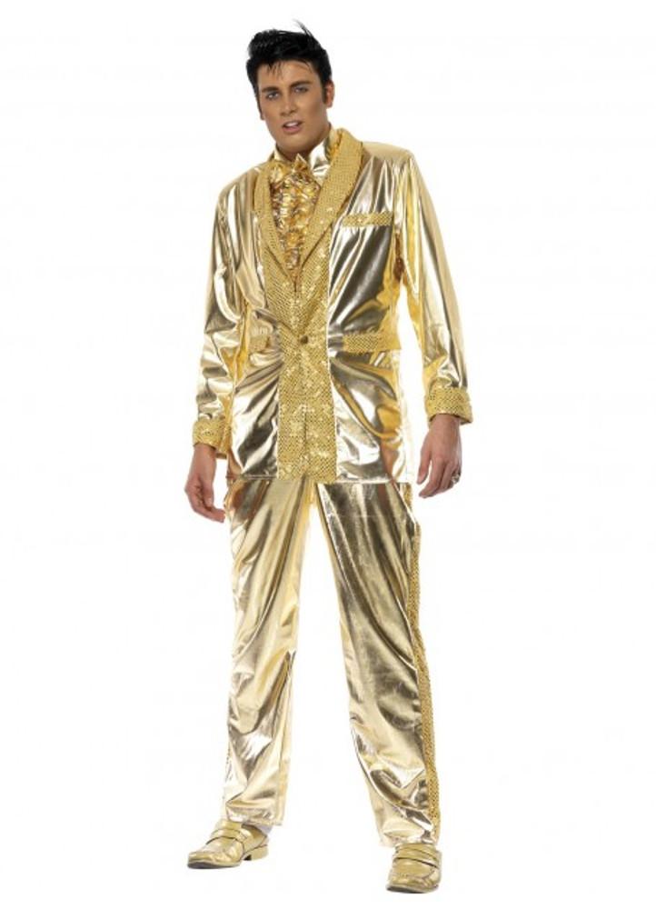 Elvis Gold Suit Mens Costume