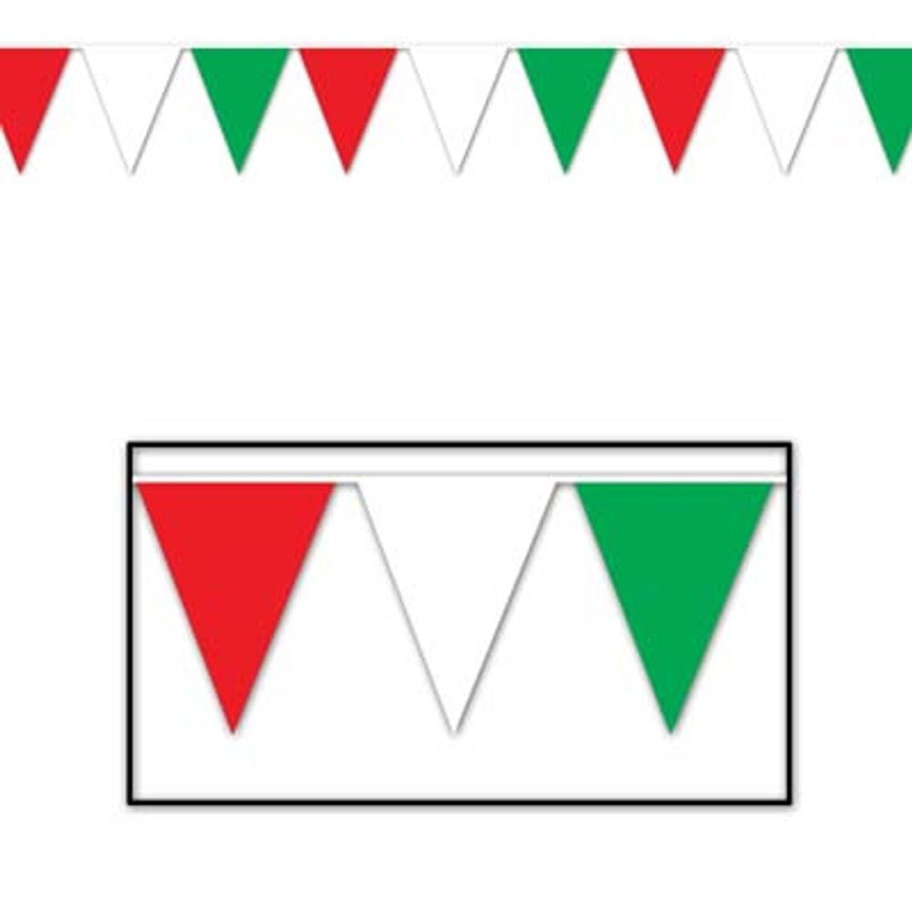 Italian Pennant Banner - Red, White & Green