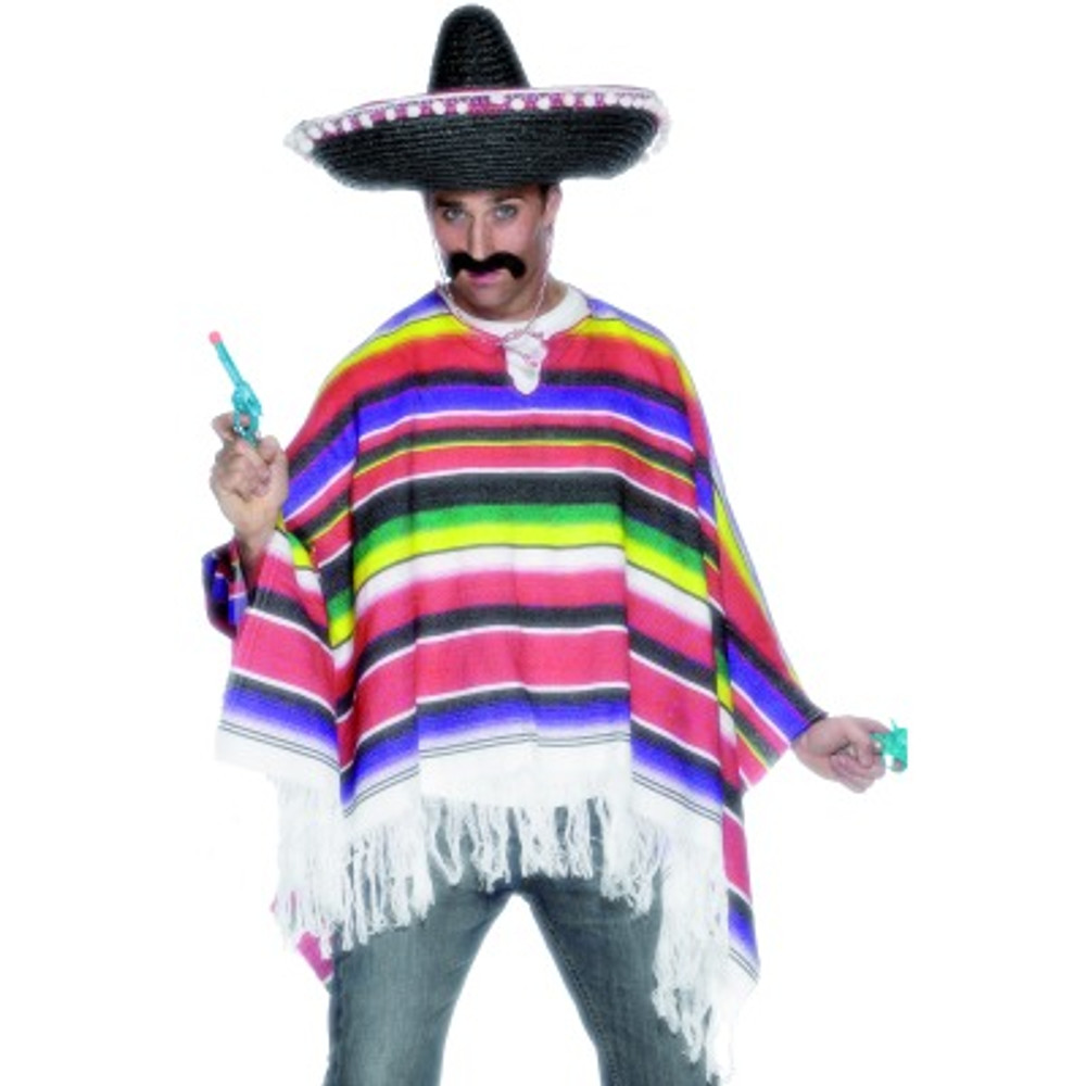 Poncho Multicoloured Mens Costume