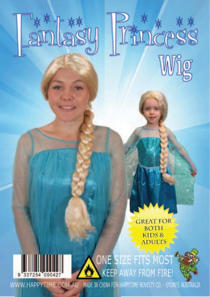 Elsa Frozen White Kids Plait Wig
