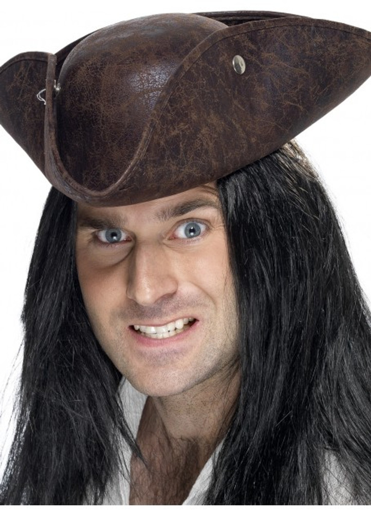 Pirate Leather Look Tricorn Hat
