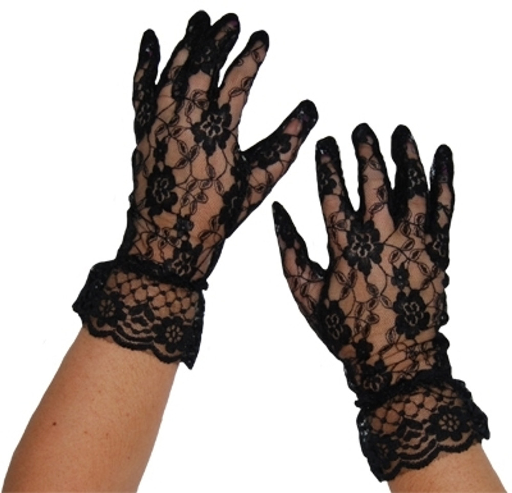 Lace Gloves Short Black