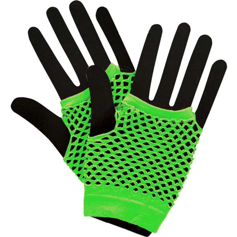 Fishnet Fingerless Gloves Short - Neon Green
