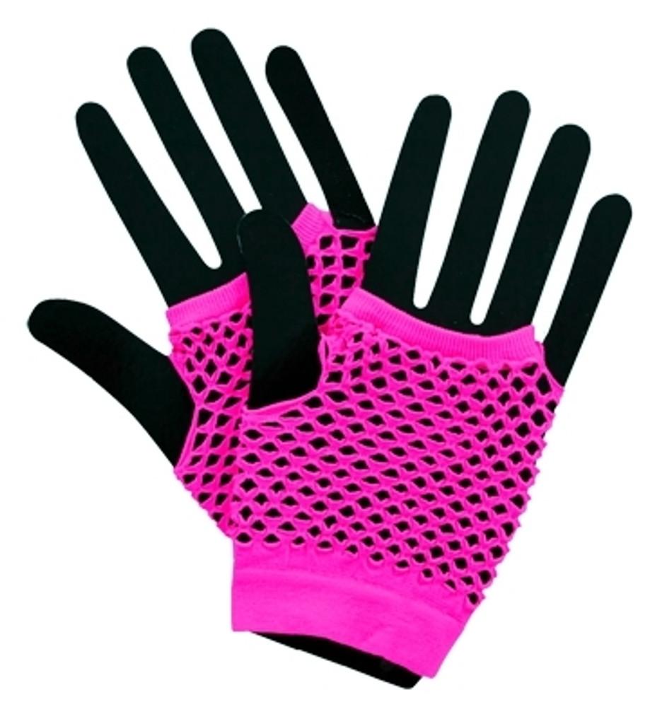 Fishnet Fingerless Gloves Short - Neon Pink