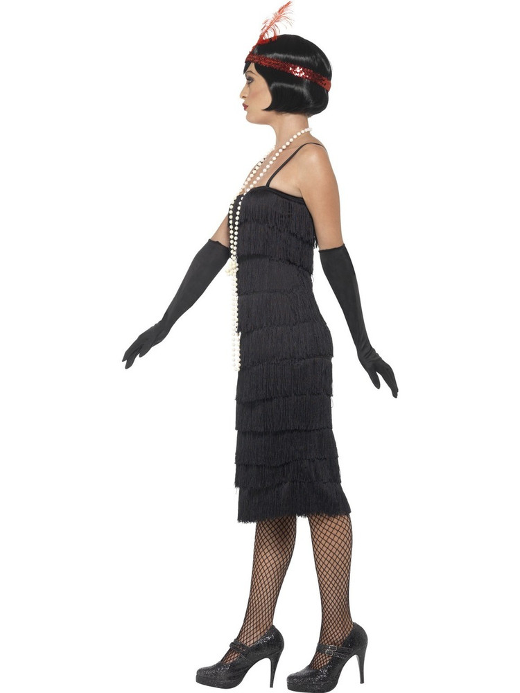 1920's Long Black Flapper Womens Costume