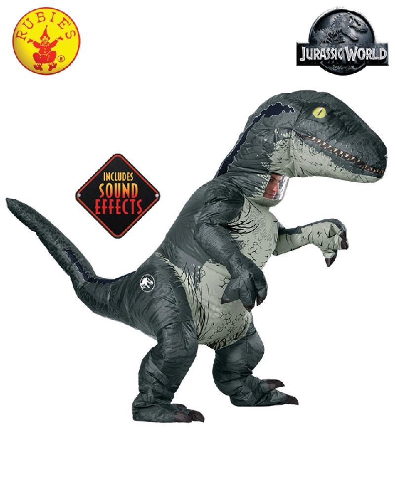 Jurassic World Velociraptor Blue Adult Costume Inflatable with Sound