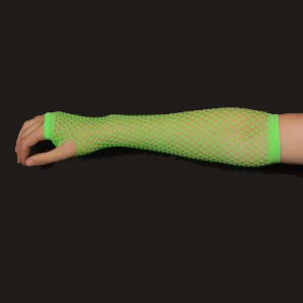 Fishnet Fingerless Gloves Long - Fluro Green