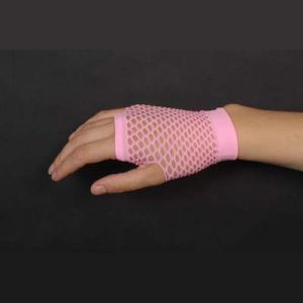 Fishnet Fingerless Gloves Short - Pink