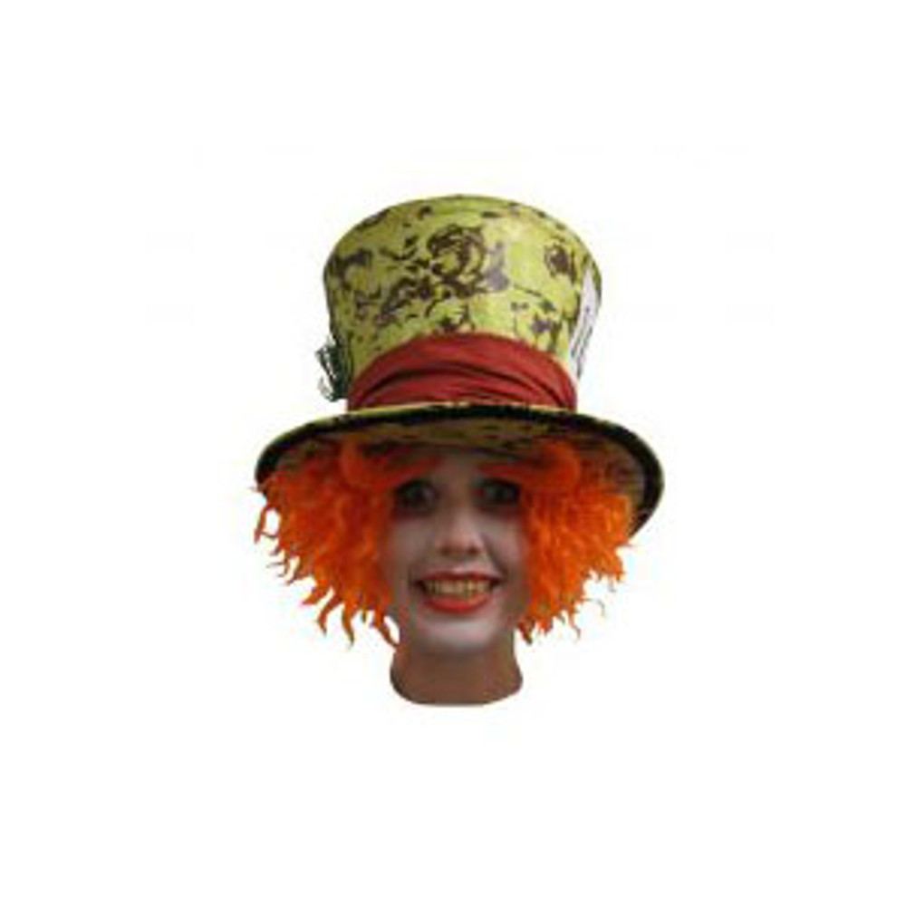 Alice In Wonderland Mad Hatter Wig And Eyebrows- Bright Orange