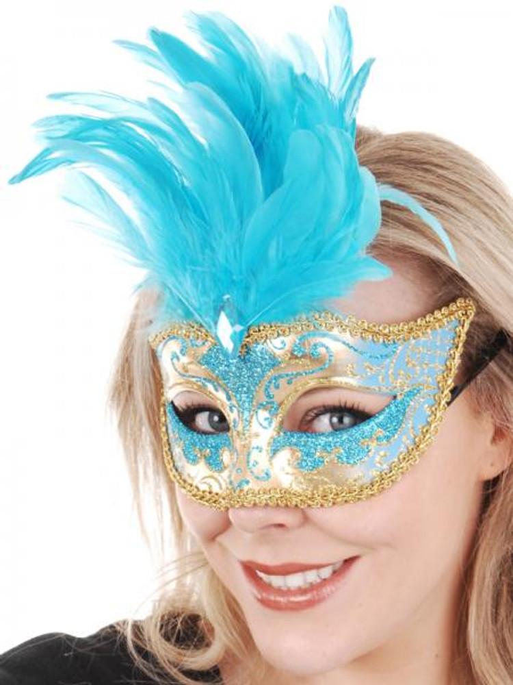 ISABELLA Aqua & Gold with Feathers Eye Mask