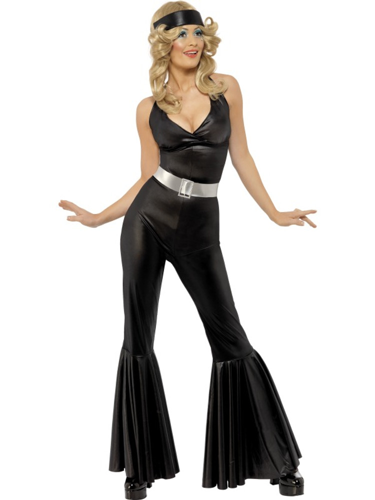 70's Diva Catsuit, Belt, Head Scarf Womens Costume