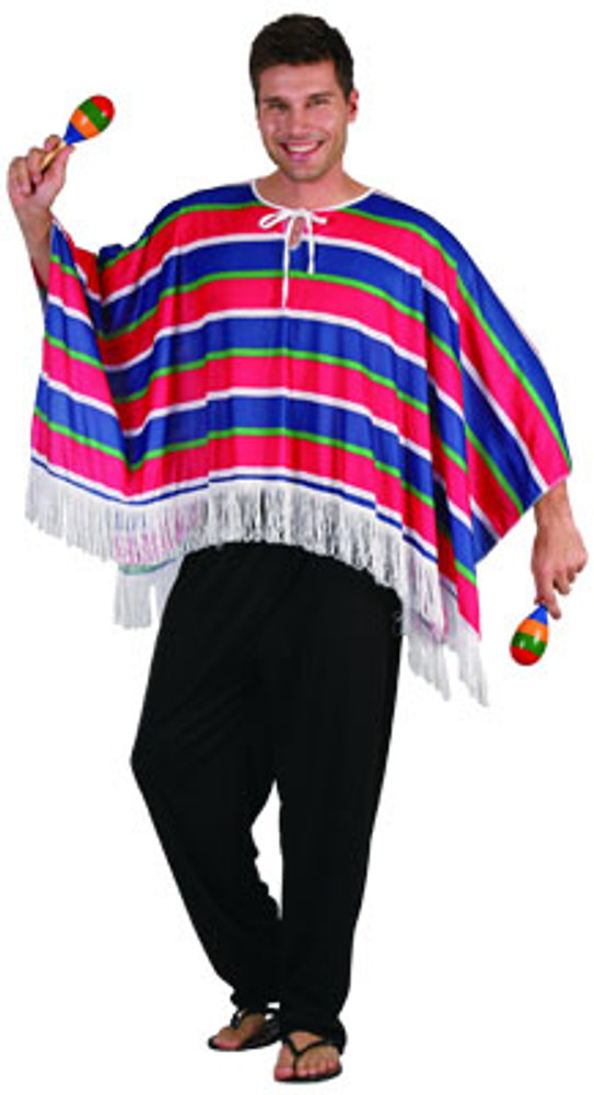 Mexican Poncho - Red/Blue - Adult