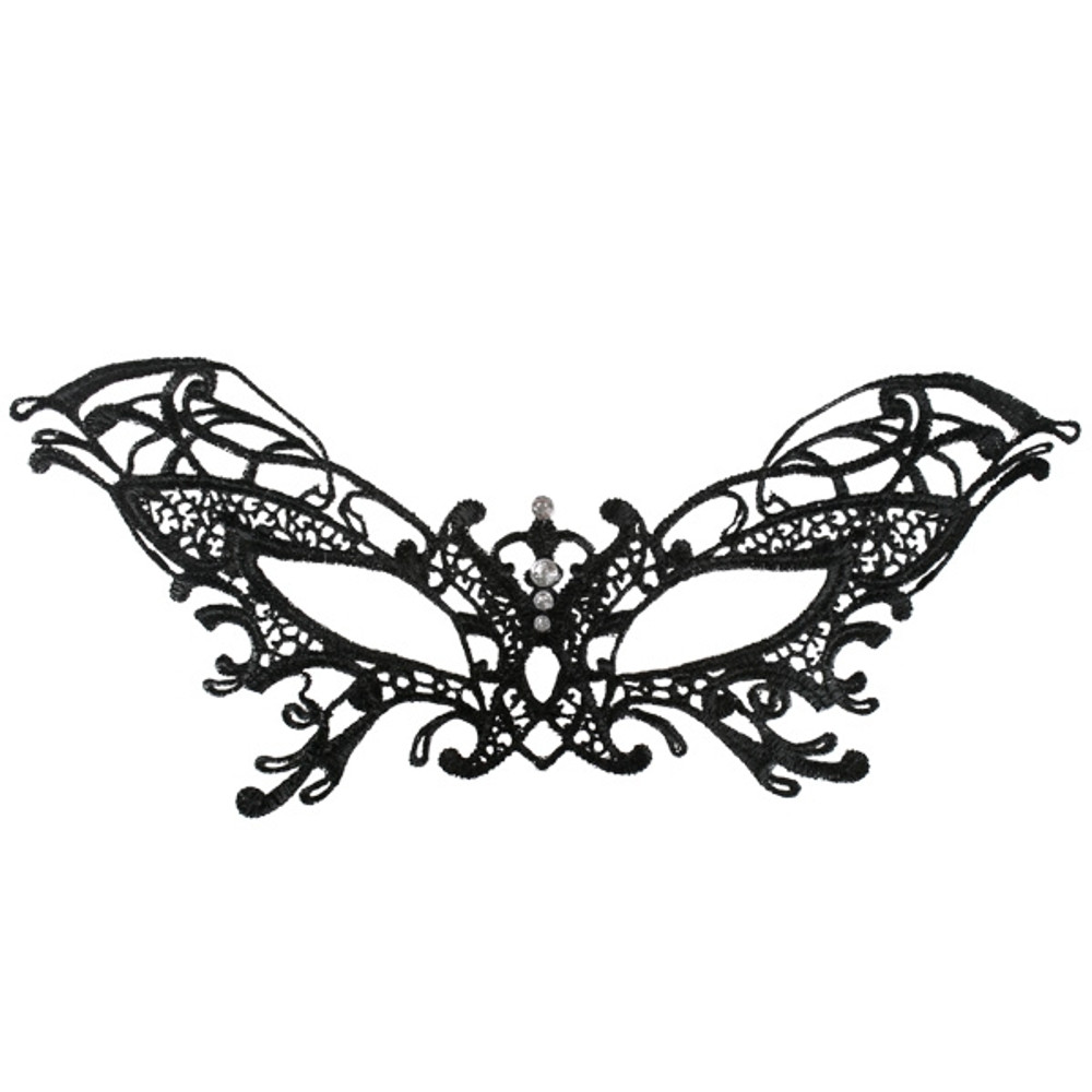 Serena Lace Eye Mask Black with Diamantes
