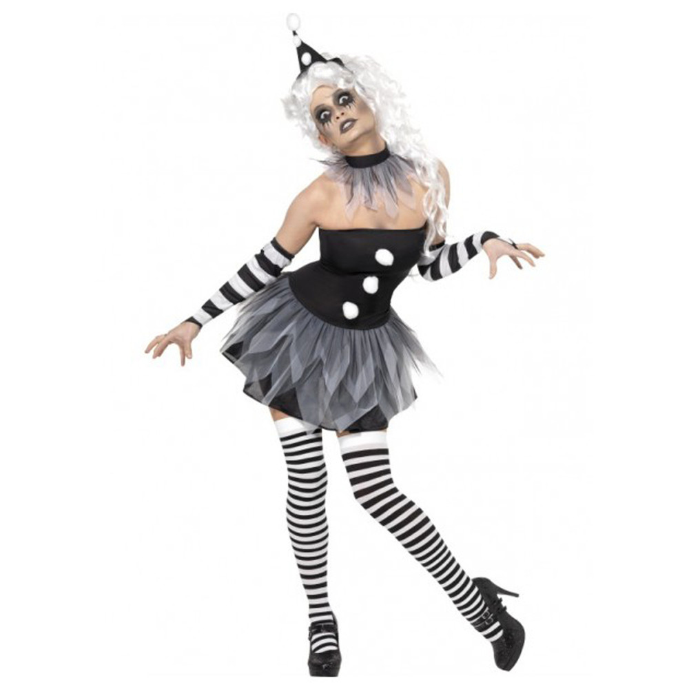 Clown Tragic Harlequin Sinister Pierrot Womens Costume