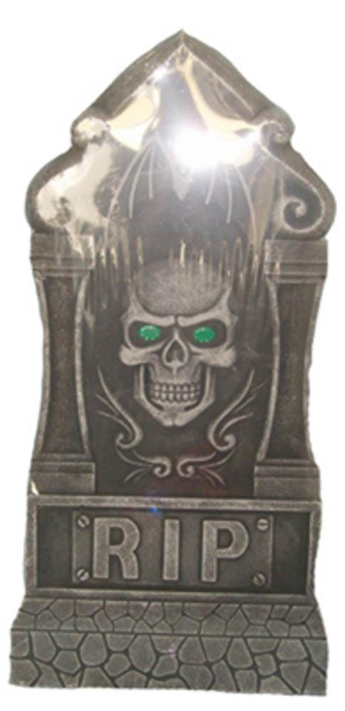 Halloween Jumbo Skull Tombstone with Light Up Eyes
