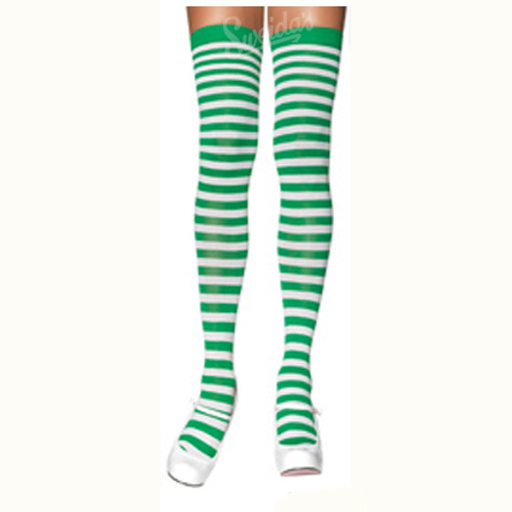 Over The knee Striped Stockings - Green & White
