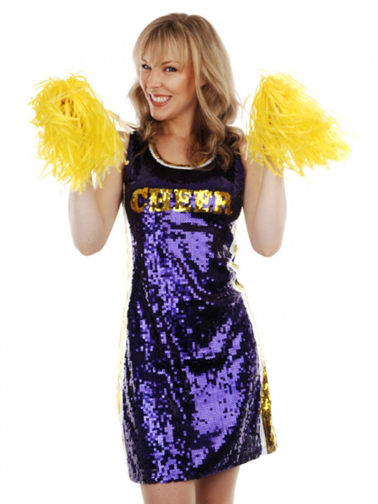 Cheer Leader Purple Sequin  Womens Costume