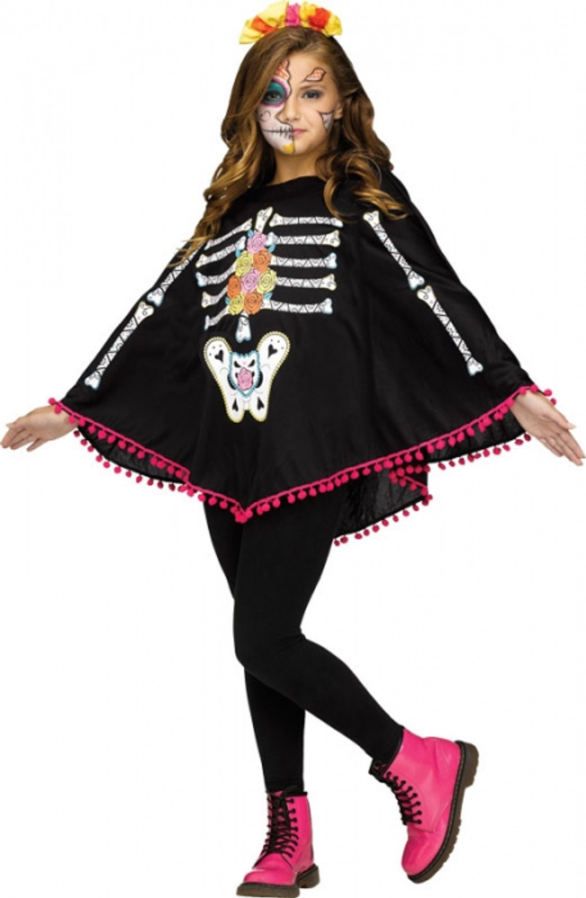 Day of the Dead Skeleton Kids Poncho