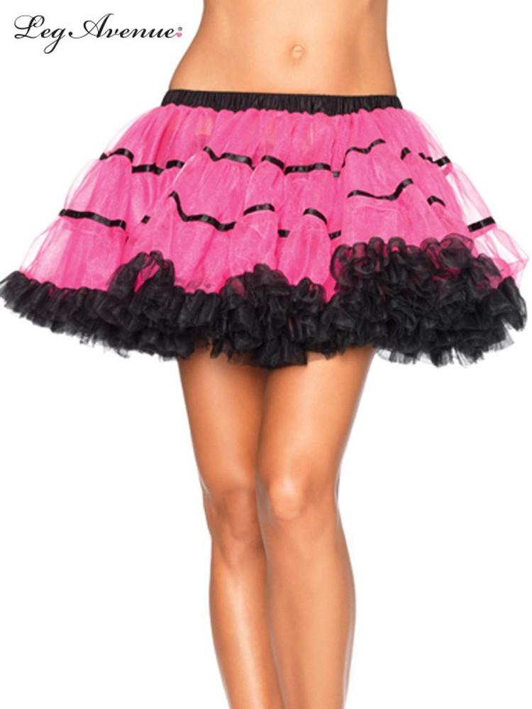 Petticoat Satin Striped Tulle Petticoat - Black/Neon Pink