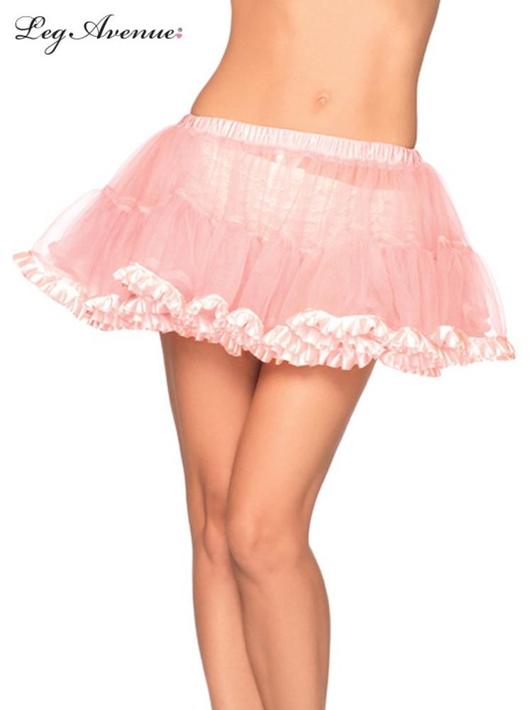 Petticoat Pleated Satin Trim Pink