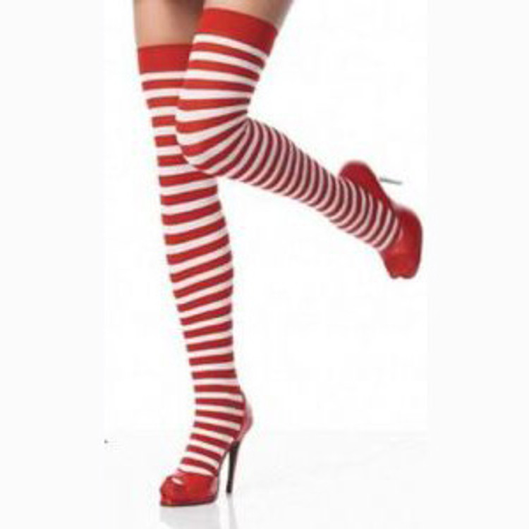 Thigh High Striped Stocking - Red & Green