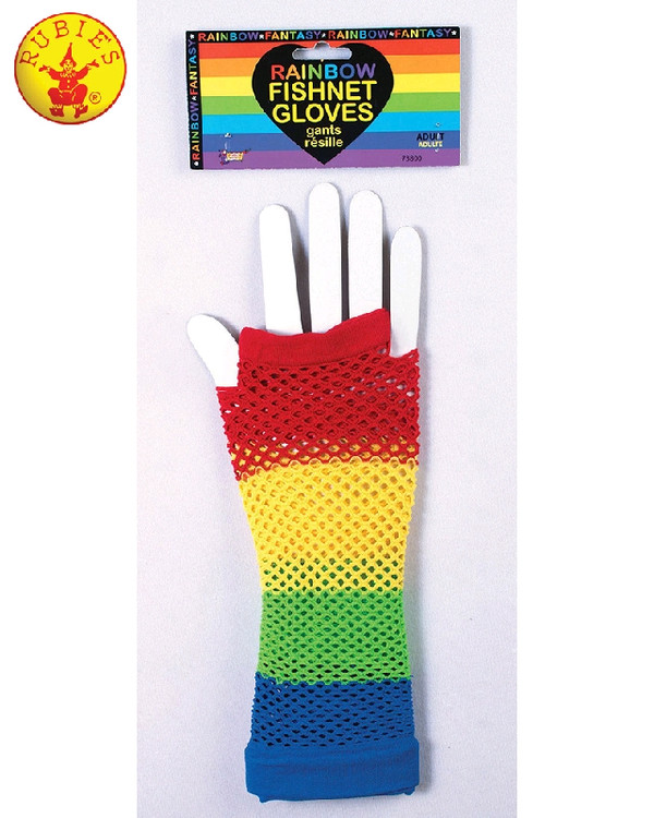 Fishnet Fingerless Gloves Rainbow