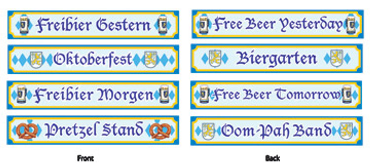 German Oktoberfest Street Sign Cut Outs