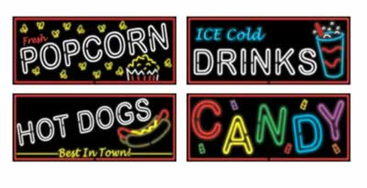 Movie Food Sign Neon Cut Outs