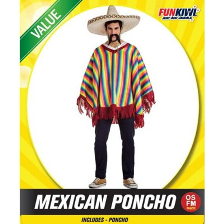 Mexican Bright Poncho Adult