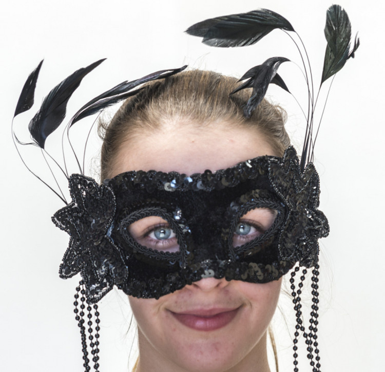 Mask- Black Lace with Feathers
