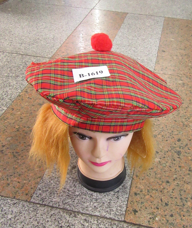 Scottish Tam O'Shanter Hat with Hair