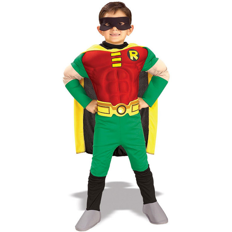 Robin Superhero Deluxe Muscle Chest Boys Costume