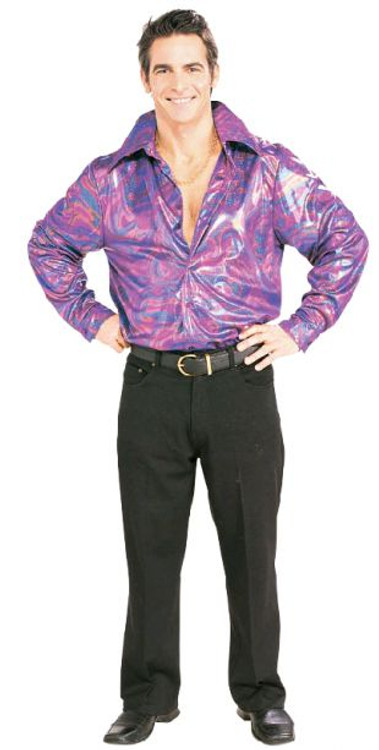 1970's Multi-Coloured Disco Shirt Mens Costume
