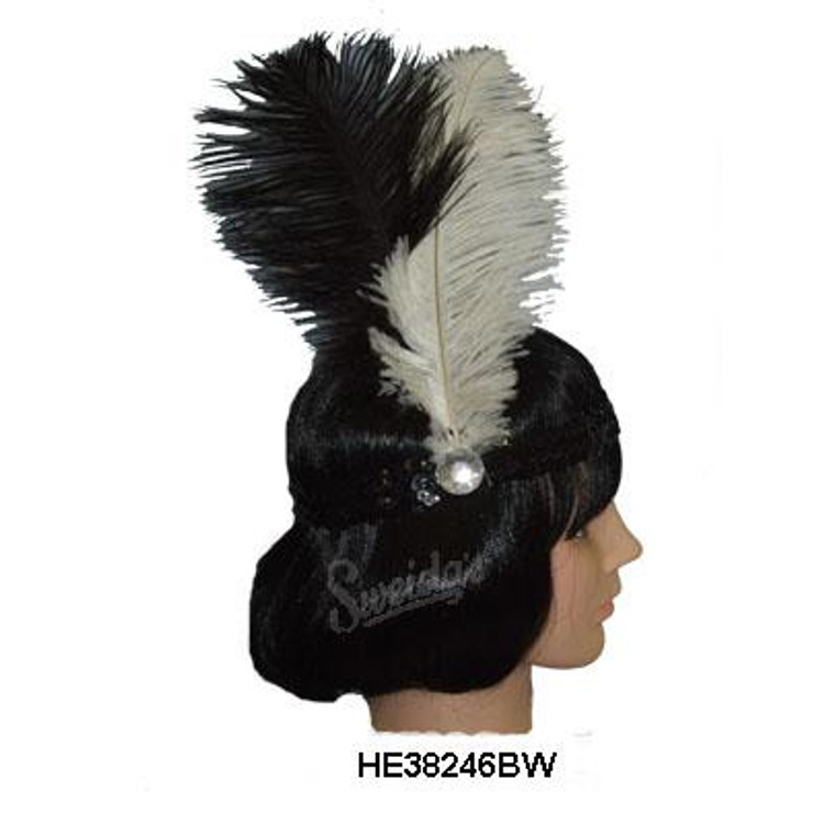 20s Sequin Headband - Black (or Gold )Band with Black White  Feathers