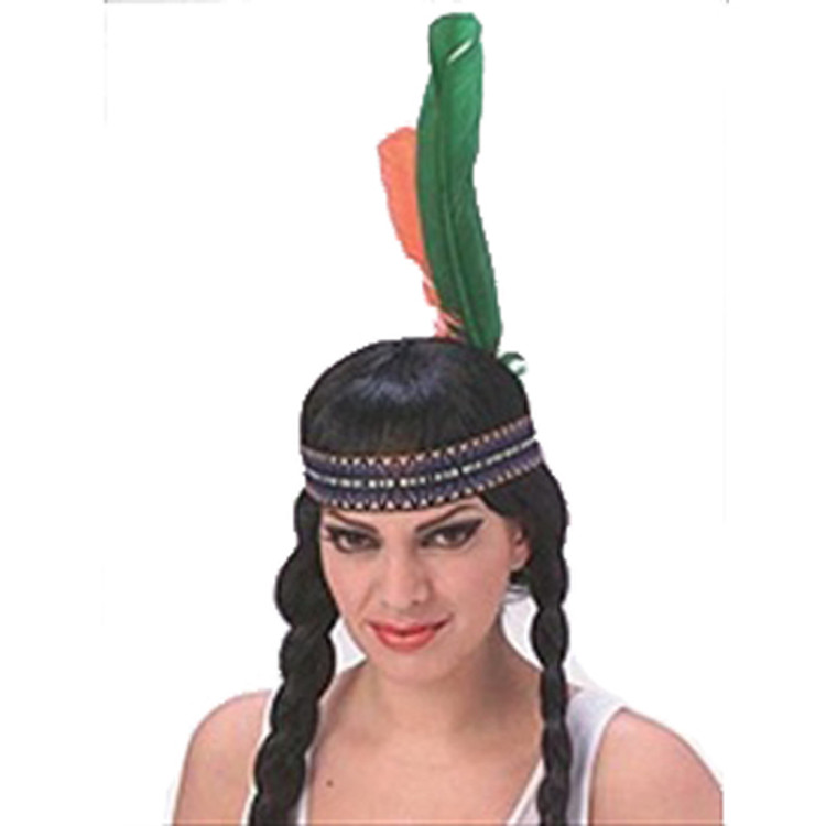 Indian Native American Headband with Feather