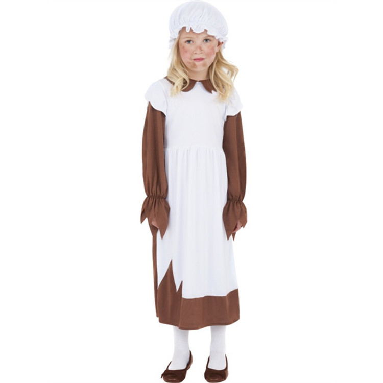 Colonial Victorian Girl Costume Dress Brown
