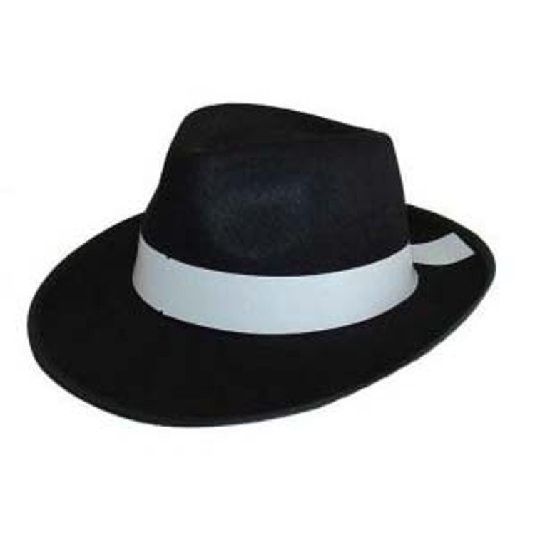Fedora - Gangster Deluxe Hat - Feltex Black with White band