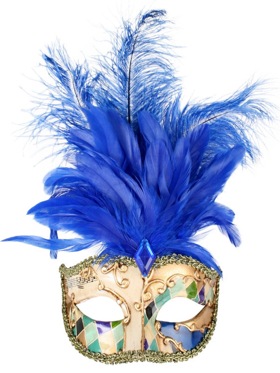 ALLEGRA Gold & Blue with Feathers Eye Mask