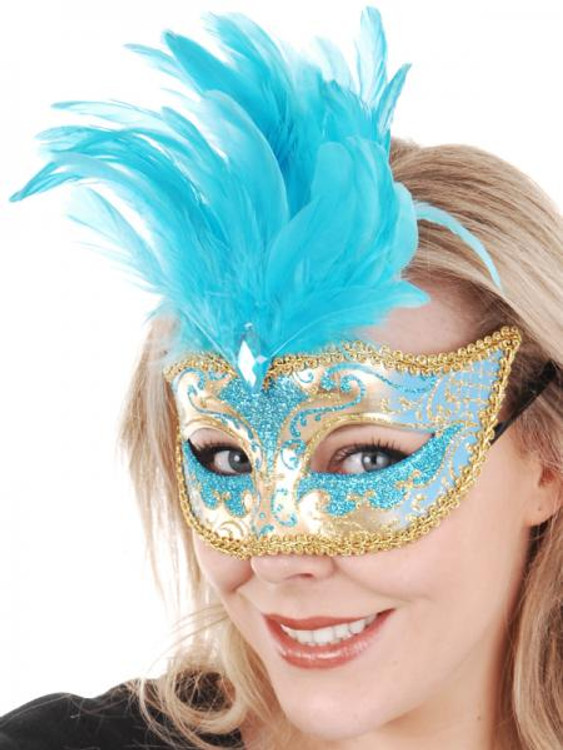 ISABELLA Aqua & Gold with Feathers Eye Mask