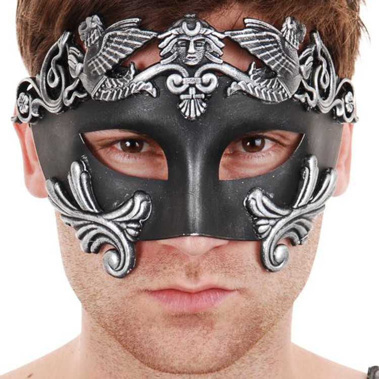 NICHOLAS Roman Black & Silver Eye Mask