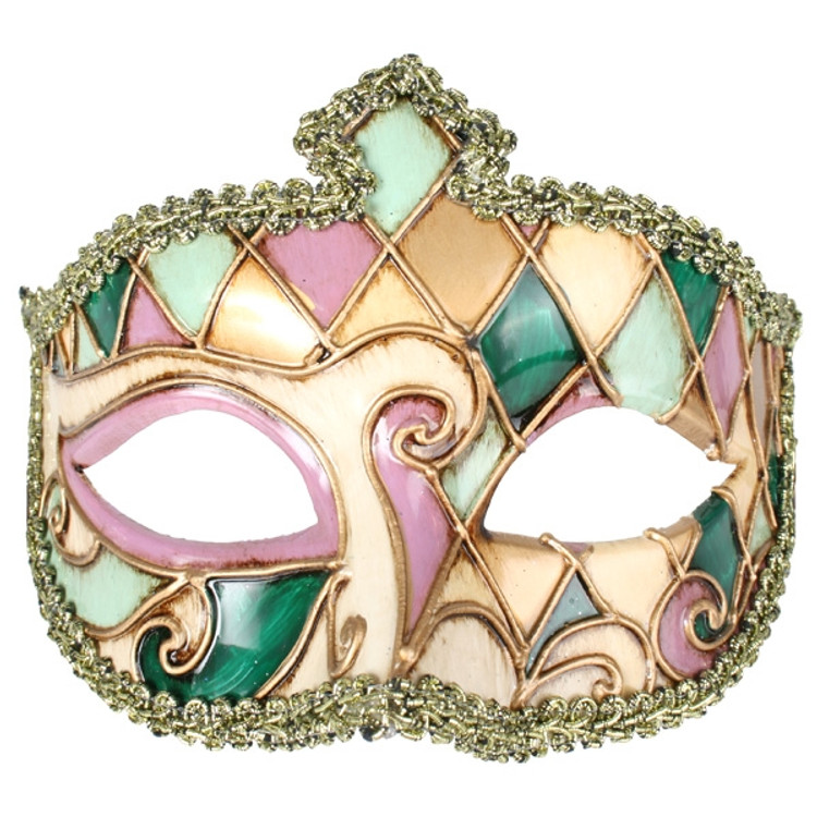 VENETIAN Gold, Green & Pink Eye Mask