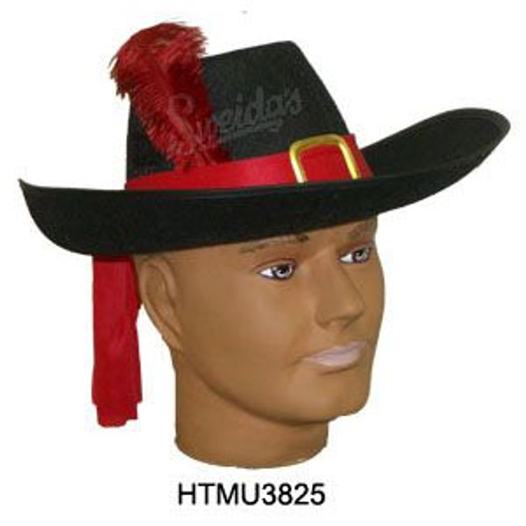 Musketeer Hat Black with Red Feathers