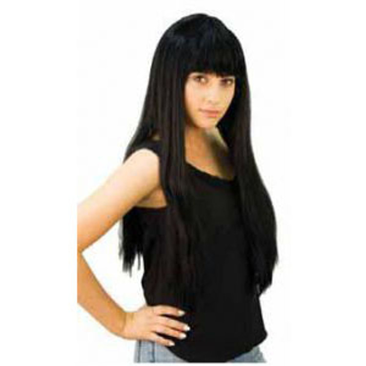 Long Straight Wig W Fringe- Black