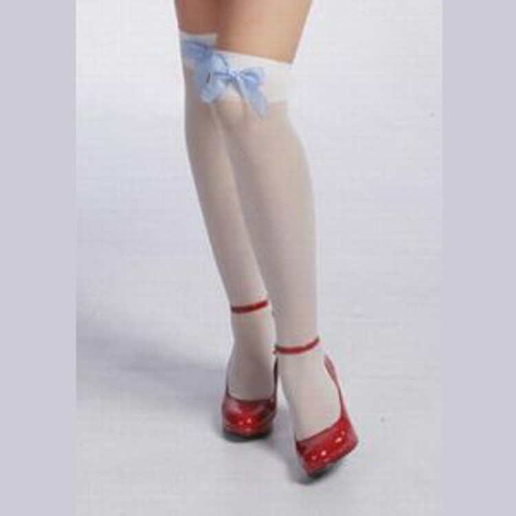 Thigh High Stockings with Blue Satin Bow