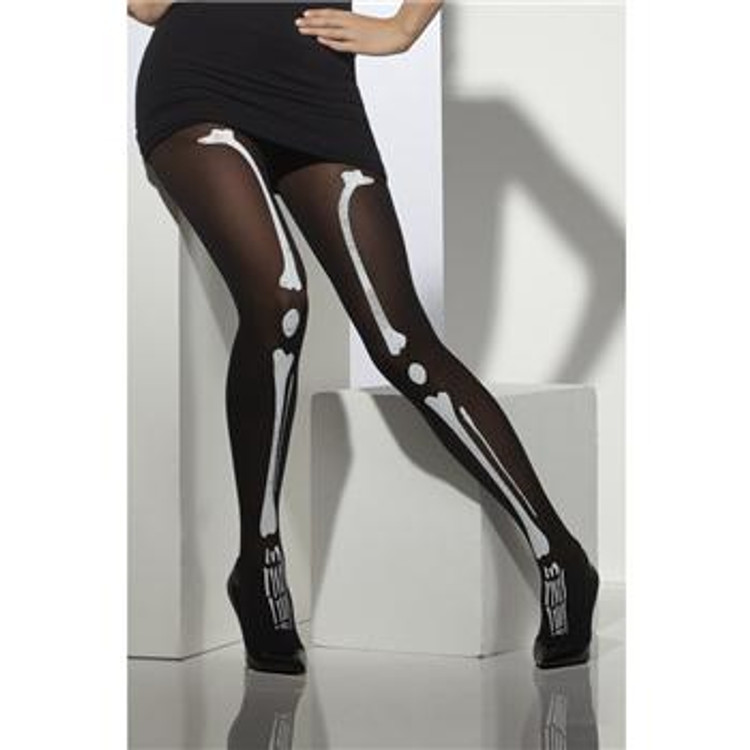 Black with Skeleton Adult Tights