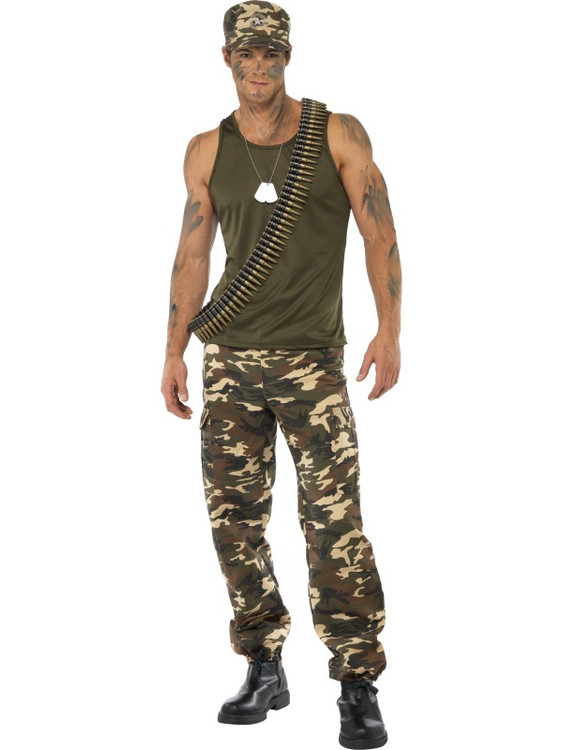 Military Khaki Camo Male Costume